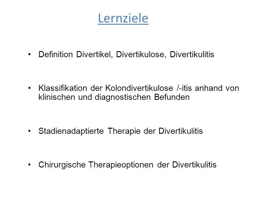 Lernziele Definition Divertikel, Divertikulose, Divertikulitis