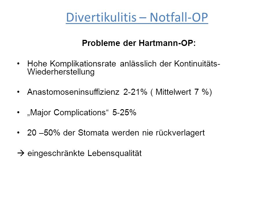 Probleme der Hartmann-OP: