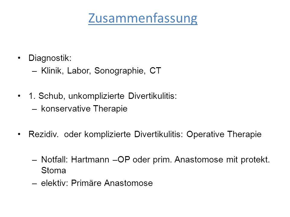 Zusammenfassung Diagnostik: Klinik, Labor, Sonographie, CT
