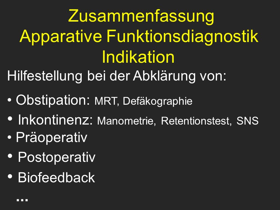 Apparative Funktionsdiagnostik Indikation