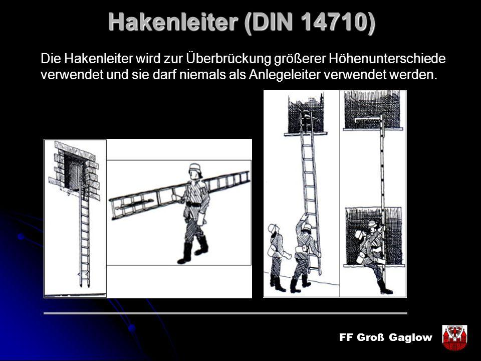 Hakenleiter (DIN 14710) Die Hakenleiter wird zur Überbrückung größerer Höhenunterschiede.