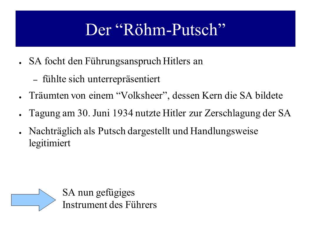 Der Röhm-Putsch SA focht den Führungsanspruch Hitlers an