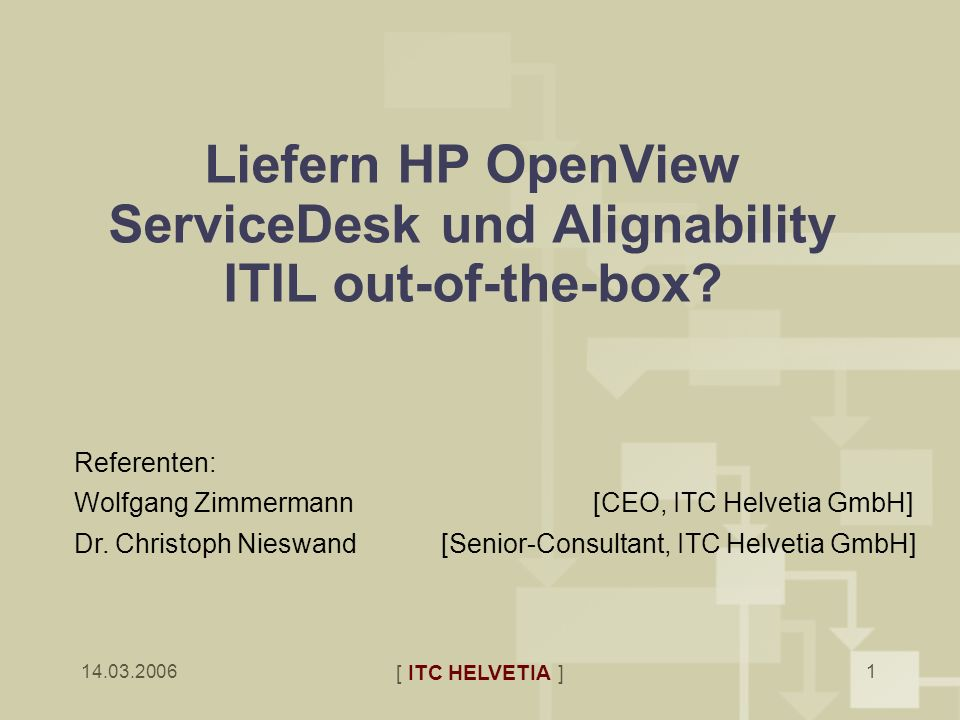 Liefern HP OpenView ServiceDesk und Alignability ITIL out-of-the-box