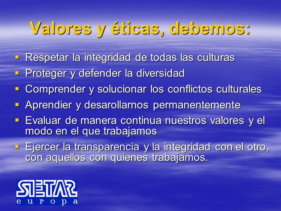 Valores y éticas, debemos: