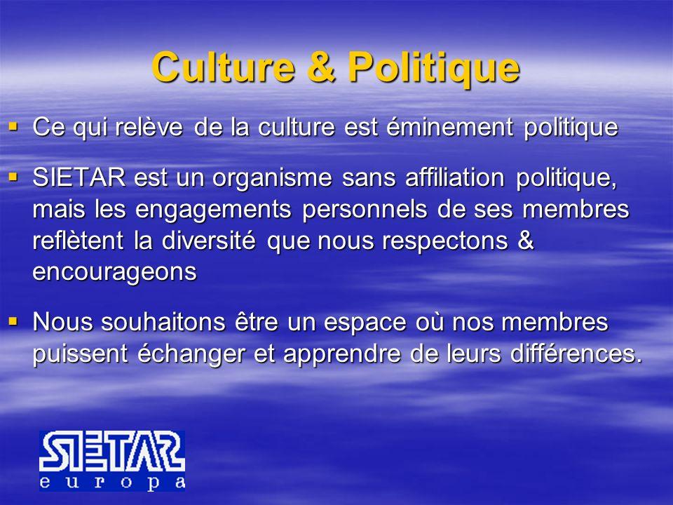 Culture & Politique Ce qui relève de la culture est éminement politique.