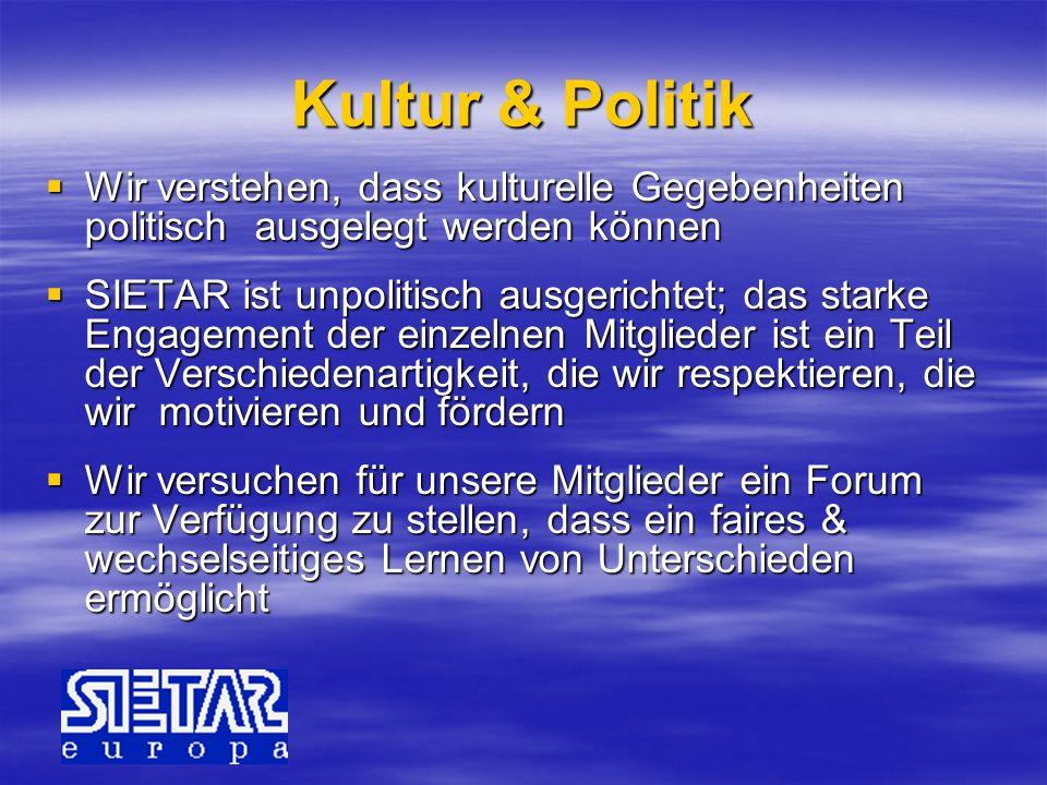 Kultur & Politik Wir verstehen, dass kulturelle Gegebenheiten politisch ausgelegt werden können.