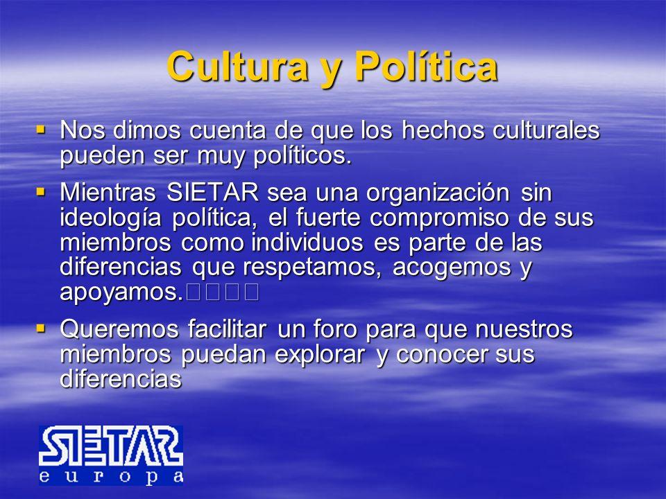 Cultura y Política Nos dimos cuenta de que los hechos culturales pueden ser muy políticos.
