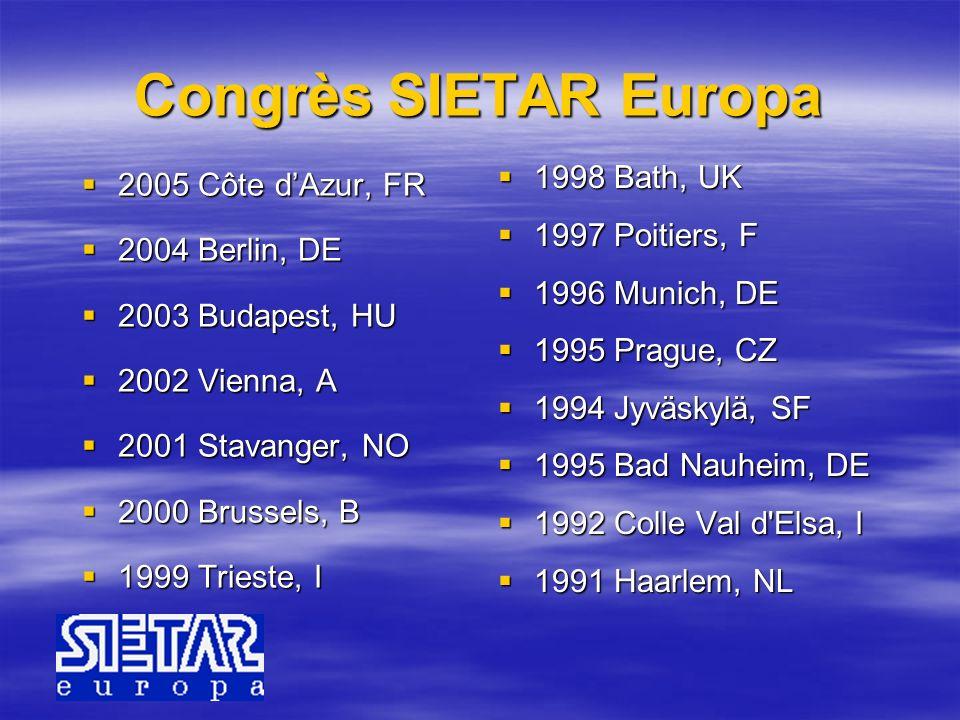 Congrès SIETAR Europa 2005 Côte d'Azur, FR 1998 Bath, UK