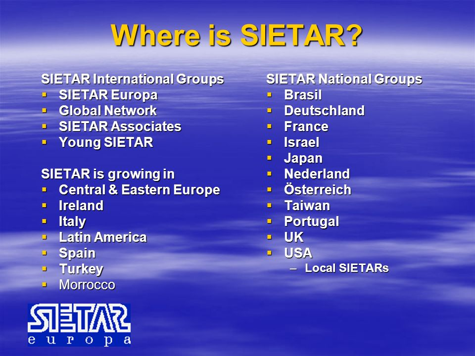 Where is SIETAR SIETAR International Groups SIETAR Europa