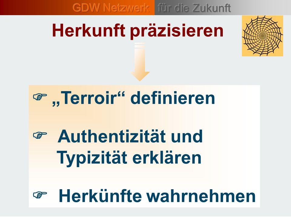 """Herkunft präzisieren """"Terroir definieren. Authentizität und Typizität erklären."""