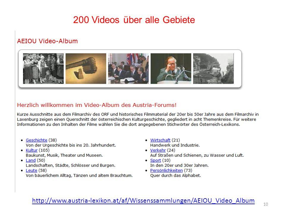 200 Videos über alle Gebiete