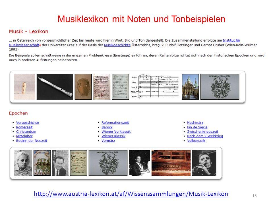 Musiklexikon mit Noten und Tonbeispielen