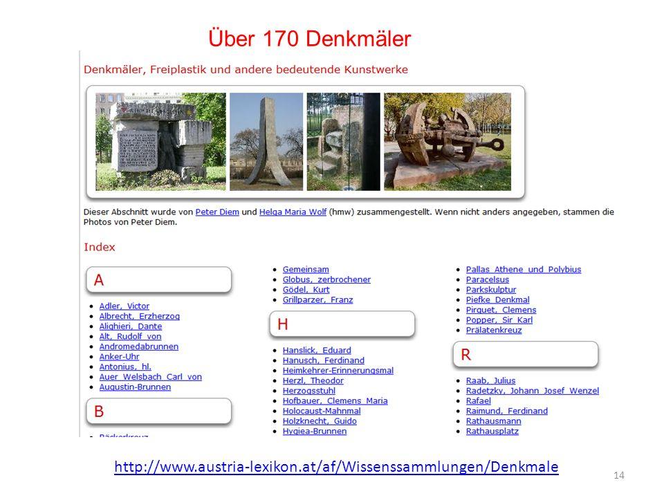 Über 170 Denkmäler http://www.austria-lexikon.at/af/Wissenssammlungen/Denkmale