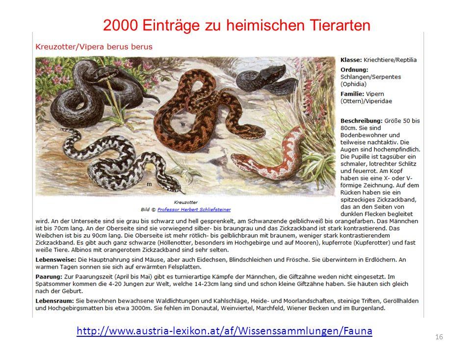 2000 Einträge zu heimischen Tierarten