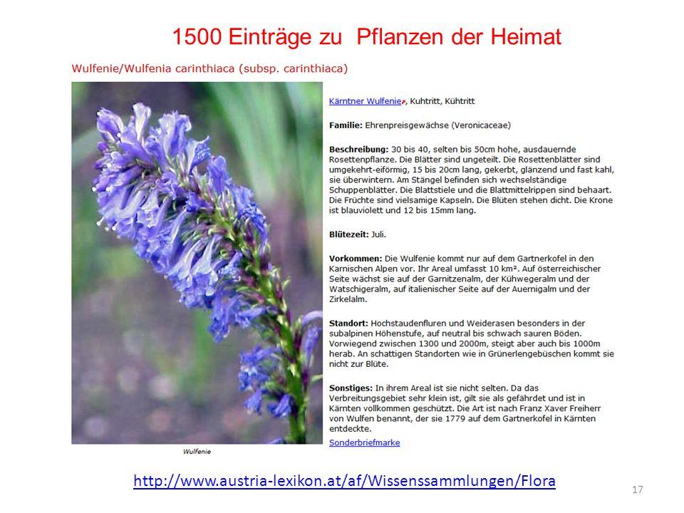 1500 Einträge zu Pflanzen der Heimat