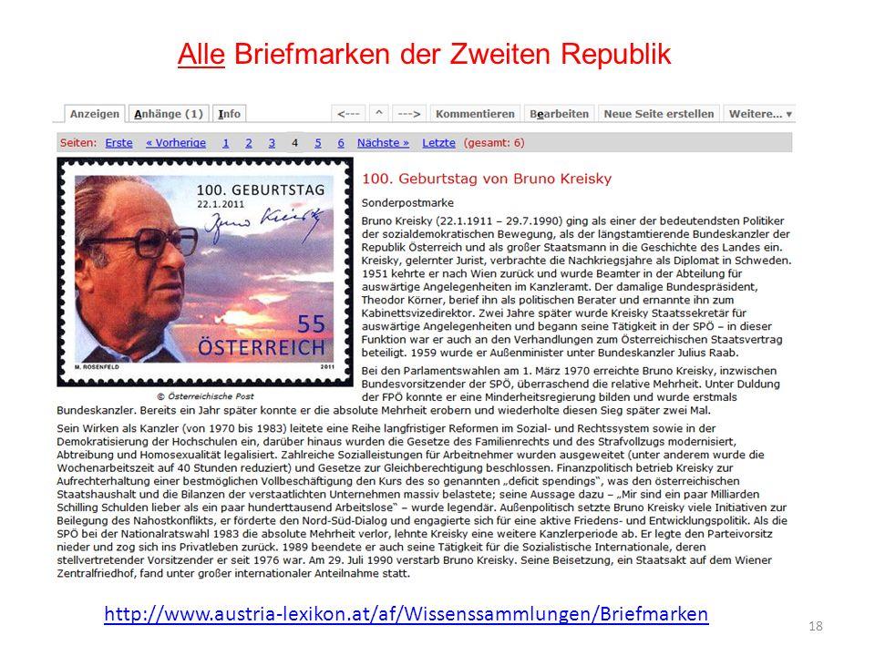 Alle Briefmarken der Zweiten Republik