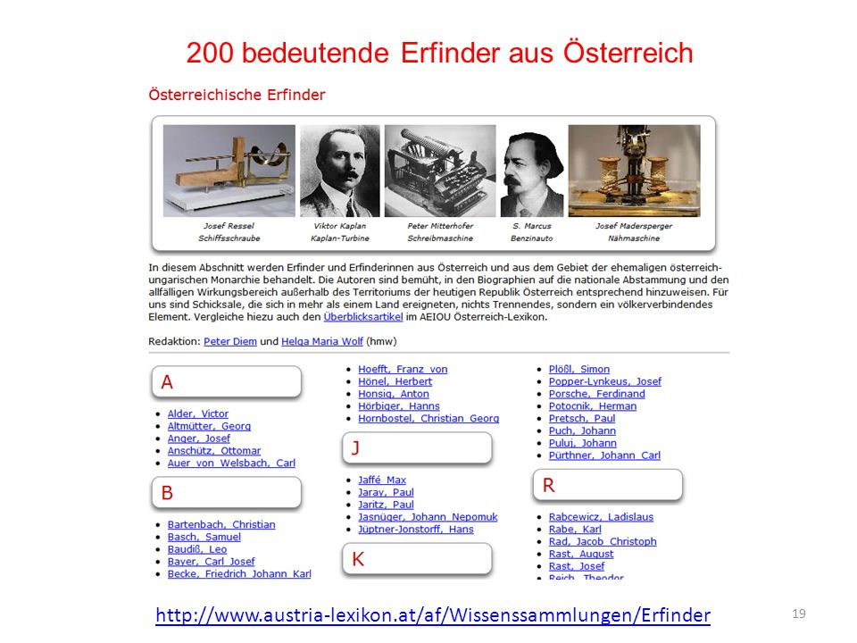 200 bedeutende Erfinder aus Österreich