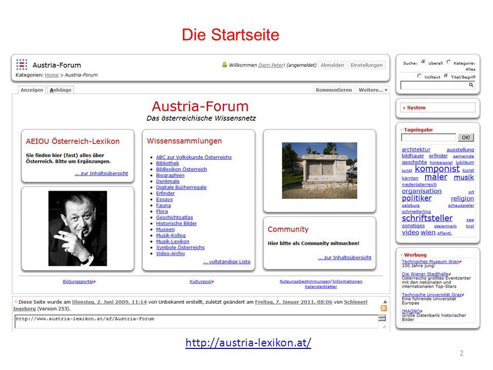 Die Startseite http://austria-lexikon.at/
