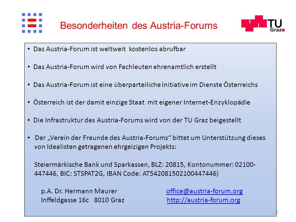 Besonderheiten des Austria-Forums