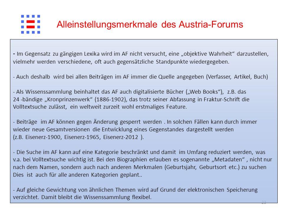 Alleinstellungsmerkmale des Austria-Forums