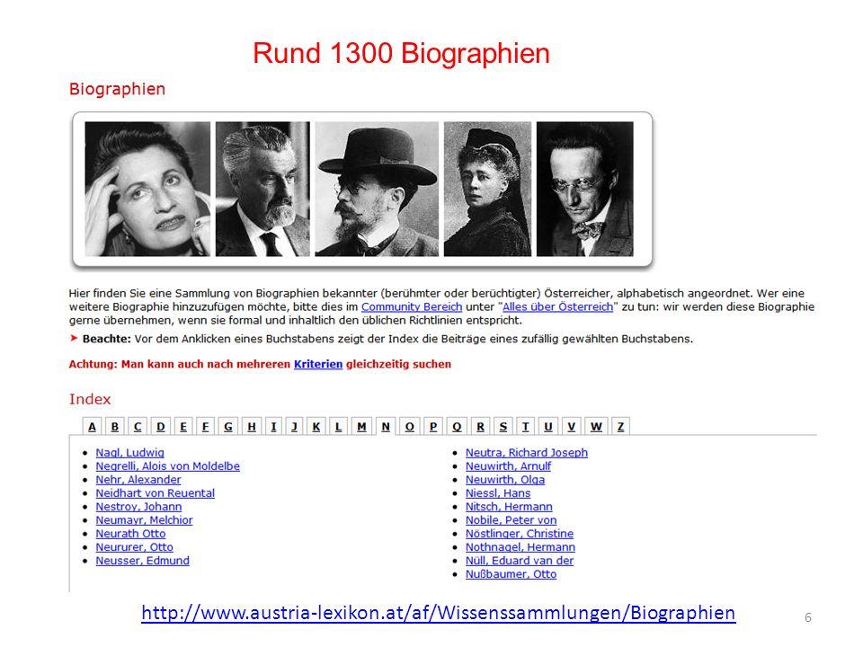 Rund 1300 Biographien http://www.austria-lexikon.at/af/Wissenssammlungen/Biographien