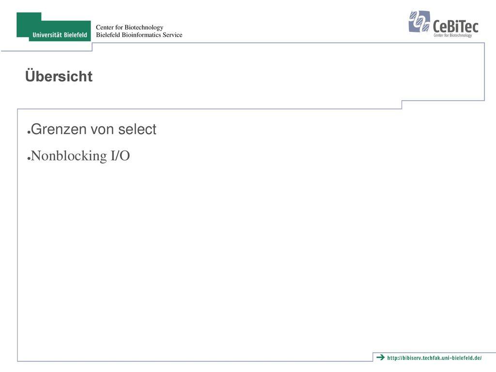 Übersicht Grenzen von select Nonblocking I/O