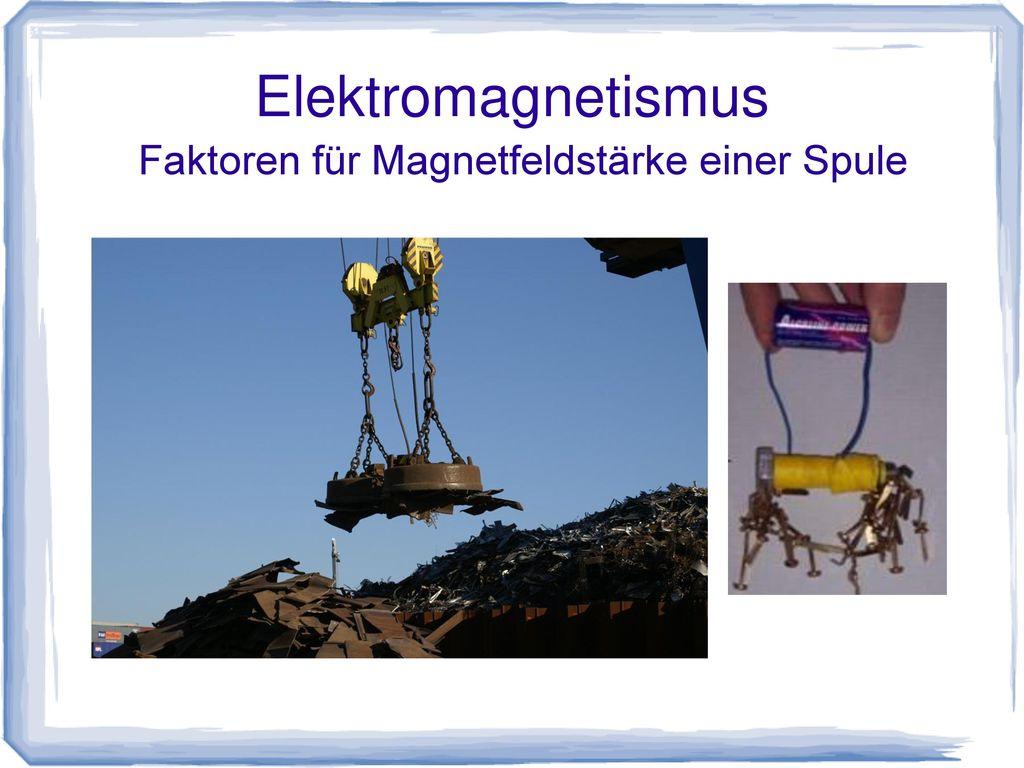 Faktoren für Magnetfeldstärke einer Spule