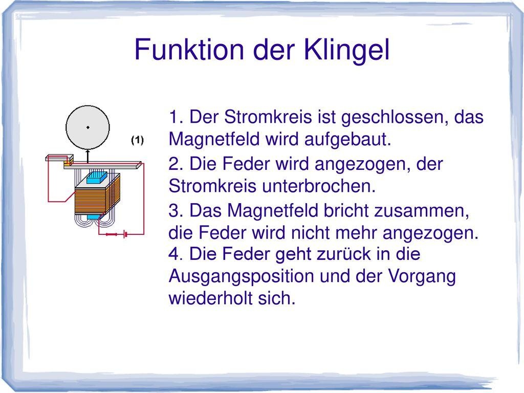 1. Der Stromkreis ist geschlossen, das Magnetfeld wird aufgebaut.