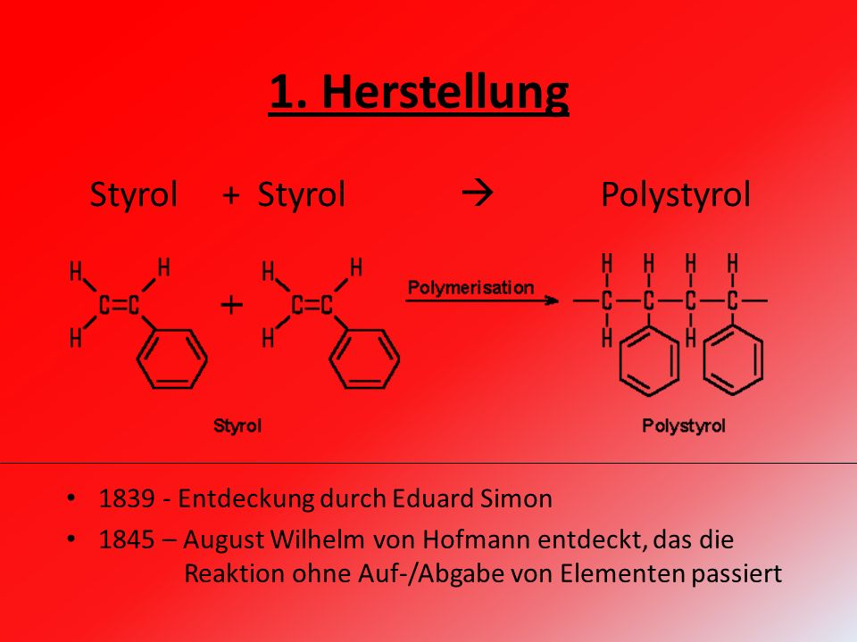1. Herstellung Styrol + Styrol  Polystyrol