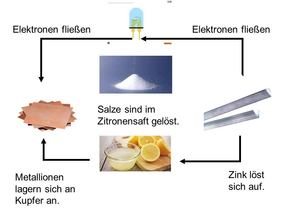Elektronen fließen Elektronen fließen. Salze sind im Zitronensaft gelöst.