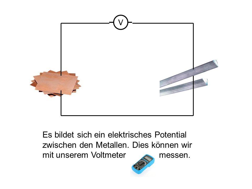 Es bildet sich ein elektrisches Potential zwischen den Metallen