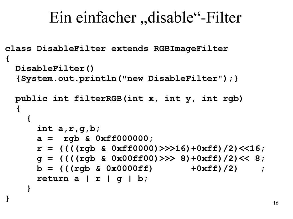 "Ein einfacher ""disable -Filter"