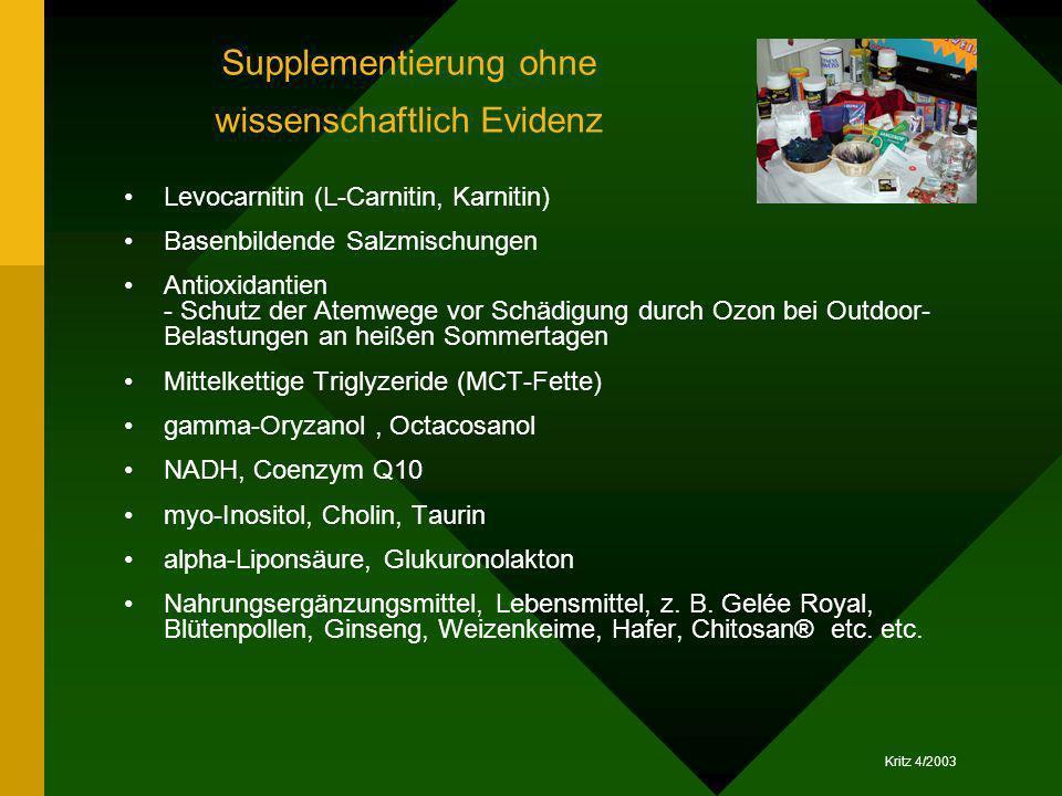 Supplementierung ohne wissenschaftlich Evidenz