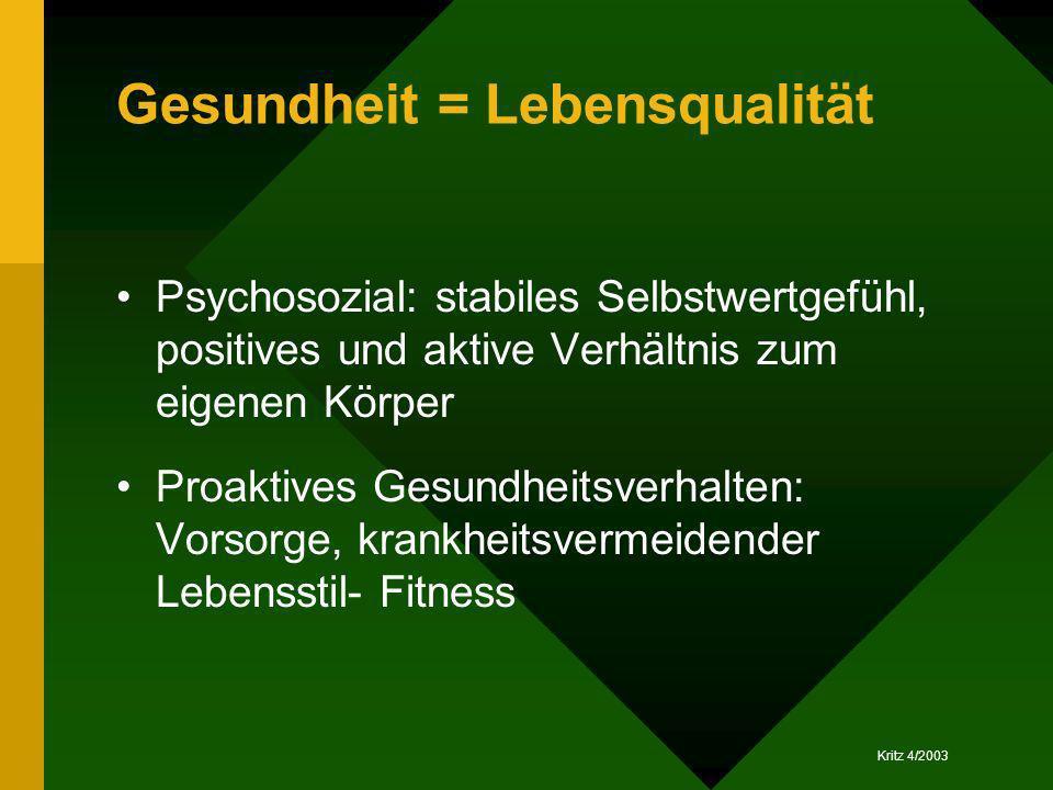 Gesundheit = Lebensqualität