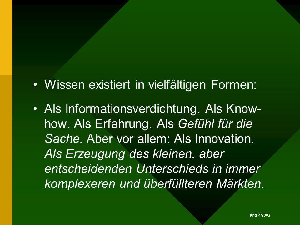 Wissen existiert in vielfältigen Formen: