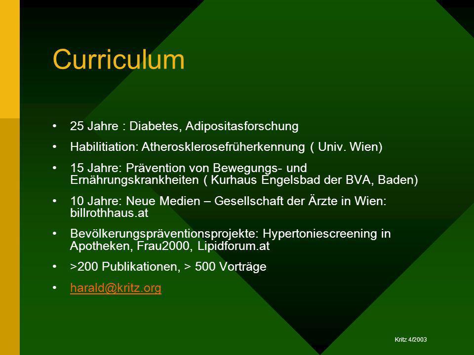 Curriculum 25 Jahre : Diabetes, Adipositasforschung
