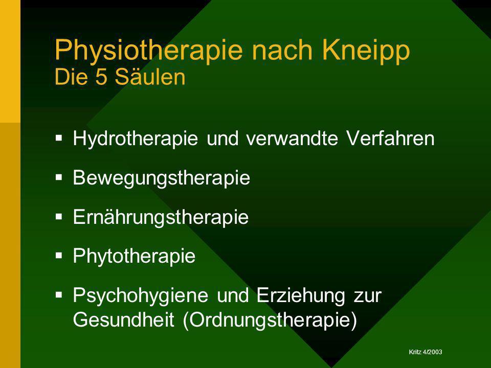 Physiotherapie nach Kneipp Die 5 Säulen