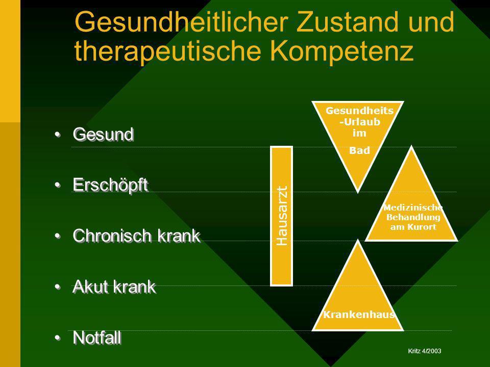Gesundheitlicher Zustand und therapeutische Kompetenz
