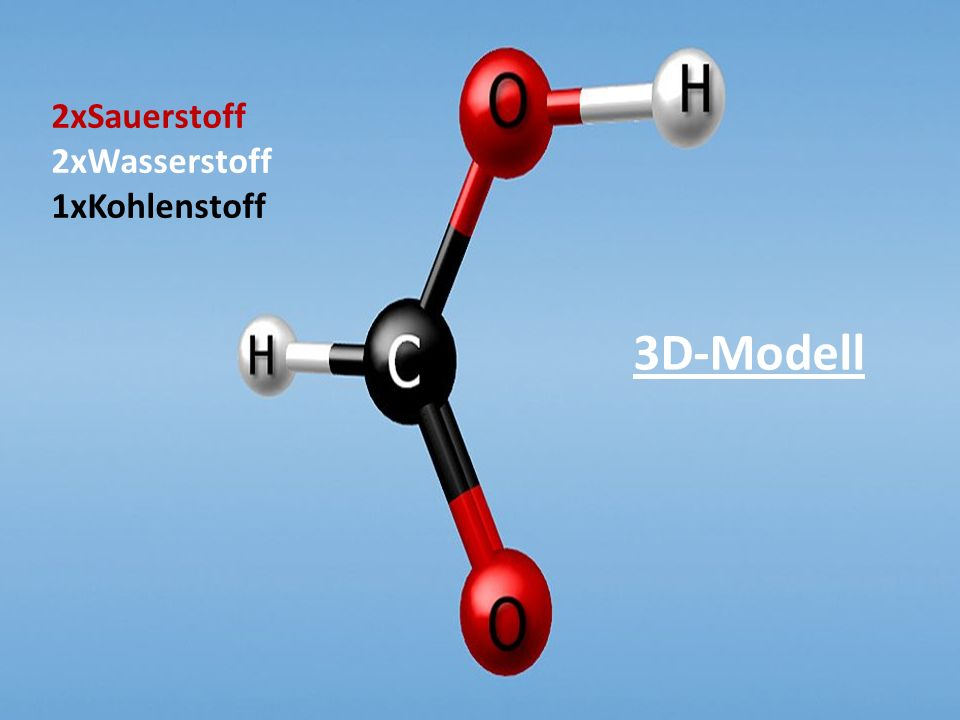2xSauerstoff 2xWasserstoff 1xKohlenstoff 3D-Modell