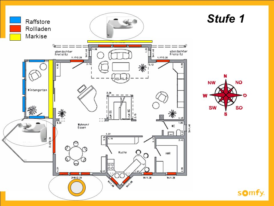 Stufe 1 Raffstore Rollladen Markise