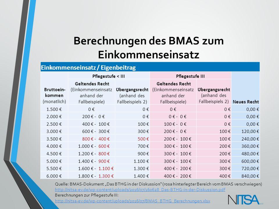 Berechnungen des BMAS zum Einkommenseinsatz