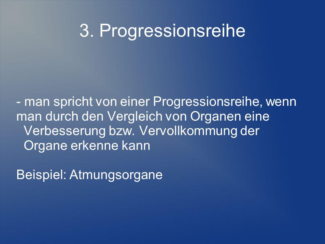 3. Progressionsreihe - man spricht von einer Progressionsreihe, wenn man durch den Vergleich von Organen eine.