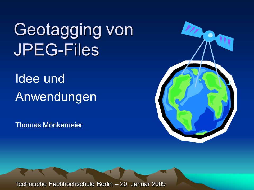 Geotagging von JPEG-Files