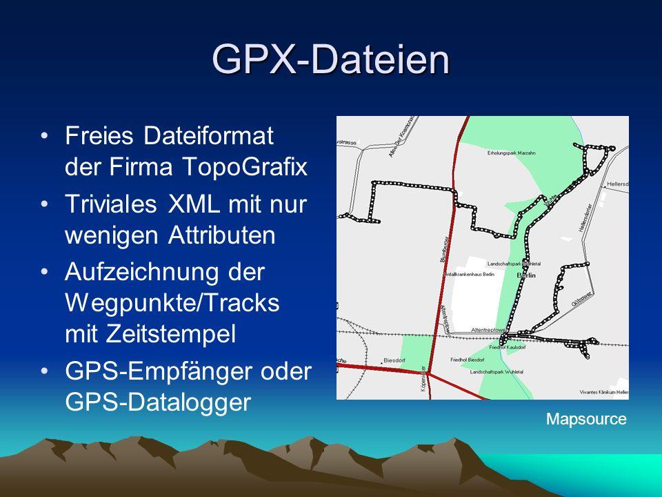 GPX-Dateien Freies Dateiformat der Firma TopoGrafix