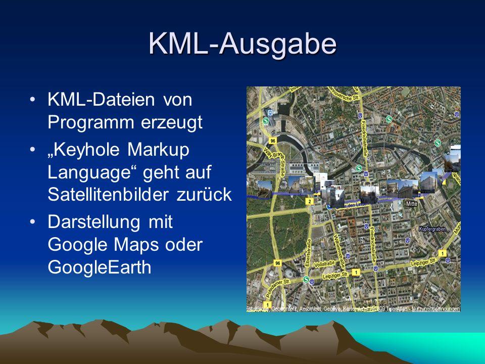 KML-Ausgabe KML-Dateien von Programm erzeugt