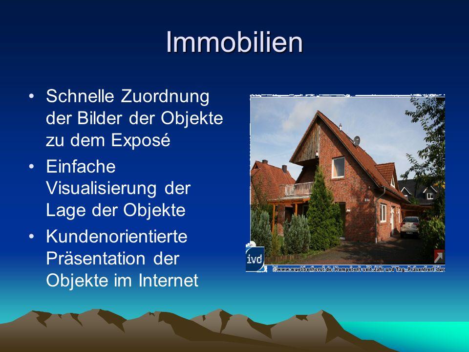 Immobilien Schnelle Zuordnung der Bilder der Objekte zu dem Exposé