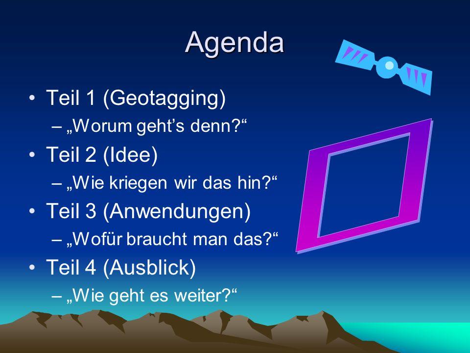 Agenda º Teil 1 (Geotagging) Teil 2 (Idee) Teil 3 (Anwendungen)