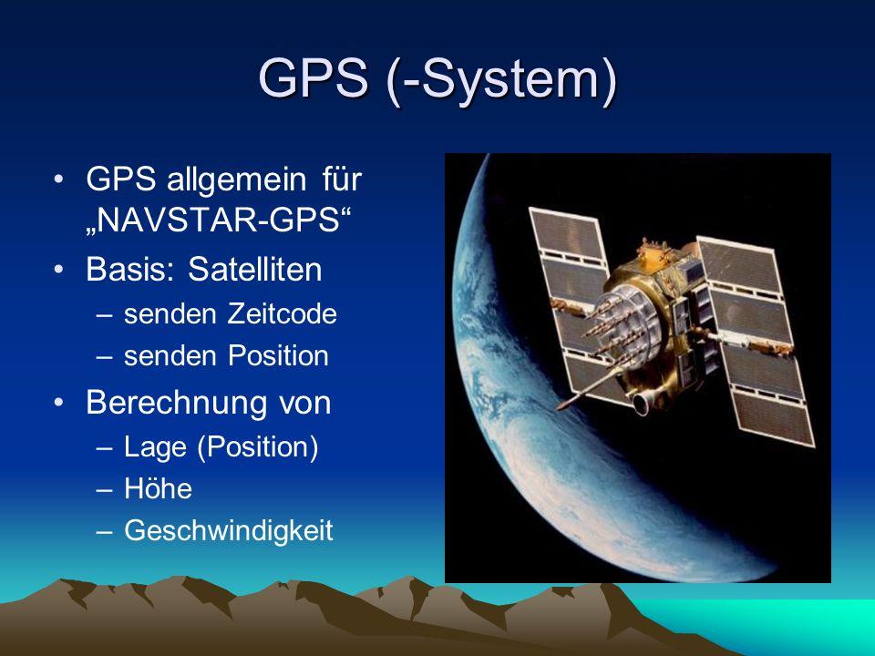 """GPS (-System) GPS allgemein für """"NAVSTAR-GPS Basis: Satelliten"""