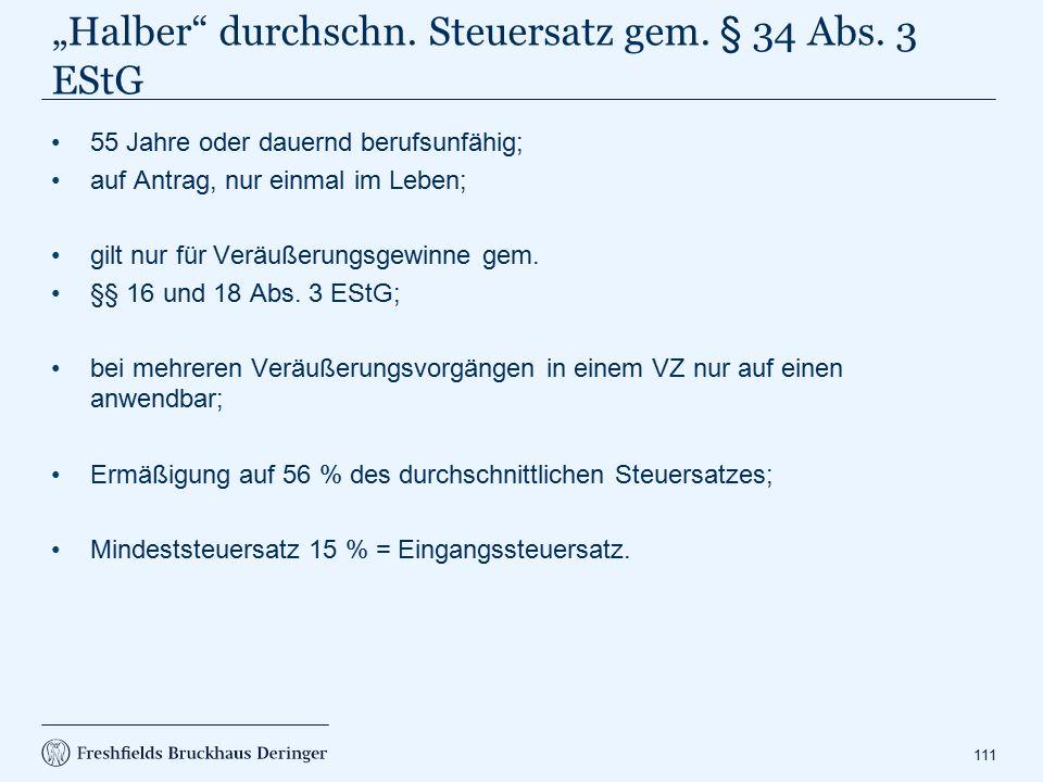 """""""Halber Durchschnittssteuersatz gem. § 34 Abs. 3 EStG"""