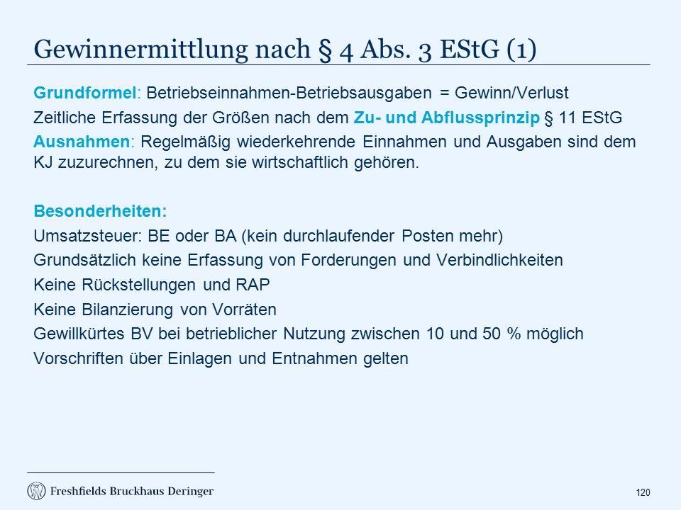 Gewinnermittlung nach § 4 Abs. 3 EStG (2)